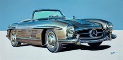 1958 Mercedes-benz 300 SL Roaster by Roz Wilson -  sized 40x20 inches. Available from Whitewall Galleries